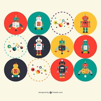 Conjunto ciência robôs retros