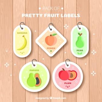 Conjunto, cinco, fruta, etiquetas