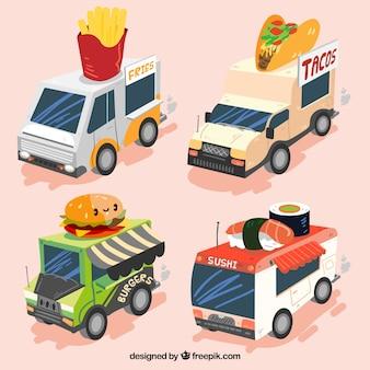Conjunto colorido de caminhões de comida legal