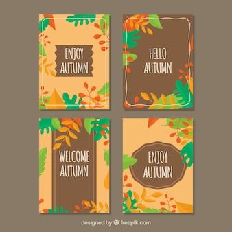 Conjunto colorido de cartões de outono com folhas