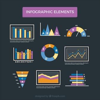 Conjunto colorido de elementos infográficos