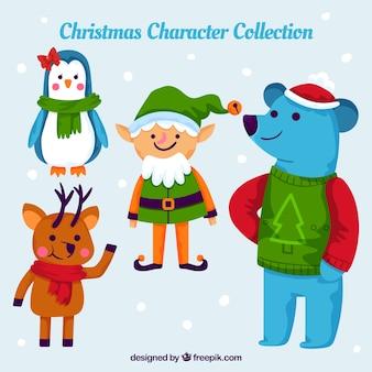 Conjunto colorido de personagens de Natal