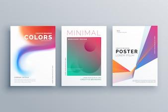 Conjunto criativo de vetor colorido de design de cartaz de negócios