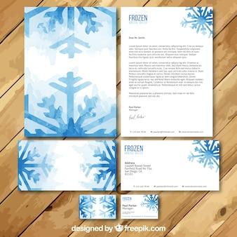 conjunto da aguarela cartão de visita de água mineral