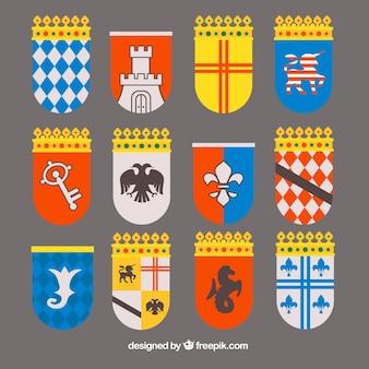 Conjunto de 12 emblemas de cavaleiros