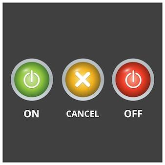 Conjunto de 3 botões coloridos em luz fundo cinza escuro