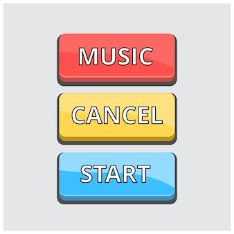 Conjunto de 3 botões coloridos sobre fundo cinza claro