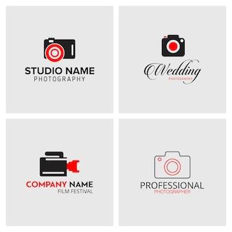 Conjunto de 4 ícones vetoriais preto e vermelho para fotógrafos em fundo cinza claro