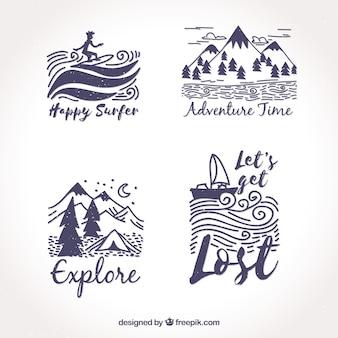 Conjunto de adesivos de aventuras desenhadas a mão