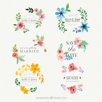 Conjunto de adesivos de casamento de aguarela floral