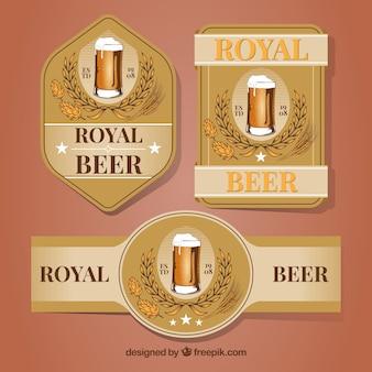 Conjunto de adesivos de cerveja retro