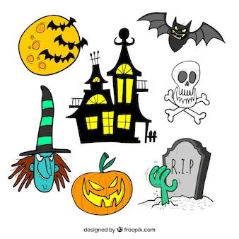 Conjunto de adesivos desenhados à mão para halloween