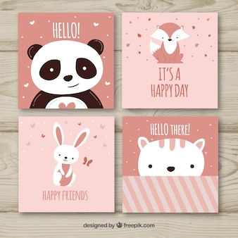 Conjunto de adoráveis cartões de animais