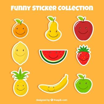 Conjunto de agradáveis adesivos de frutas