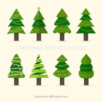 Conjunto de árvores de natal em design plano