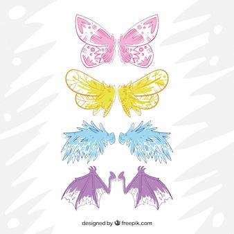 Conjunto de asas desenhadas à mão de criaturas