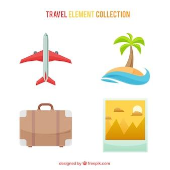 Conjunto de avião e outros elementos de viagem de verão