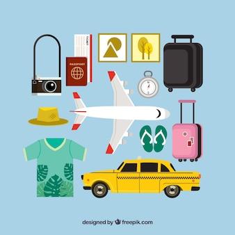 Conjunto de avião e outros elementos de viagem em plano