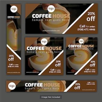 Conjunto de banner da casa do café