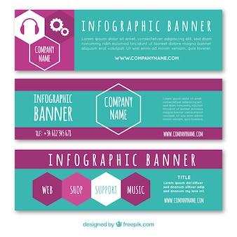Conjunto de banners de hexágonos infográficos