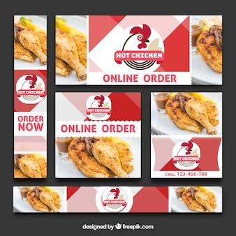 Conjunto de banners de pedidos online de comida