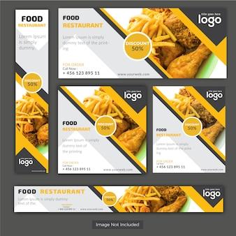 Conjunto de Banners de Restaurante de Alimentos