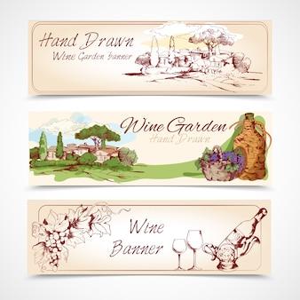 Conjunto de banners de vinho
