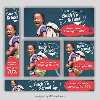 Conjunto de banners de volta à escola
