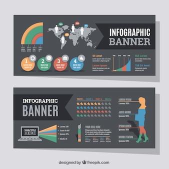 Conjunto de banners infográficos com variedade de gráficos