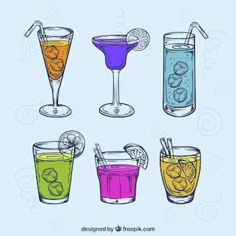 Conjunto de bebidas de verão desenhadas a mão