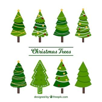 Conjunto de belas árvores de natal
