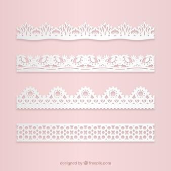 Conjunto de bordas de renda floral