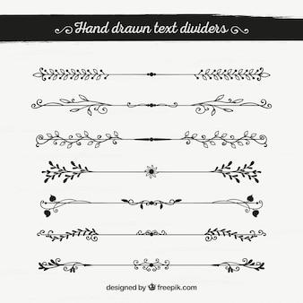 Conjunto de bordas decorativas desenhadas à mão
