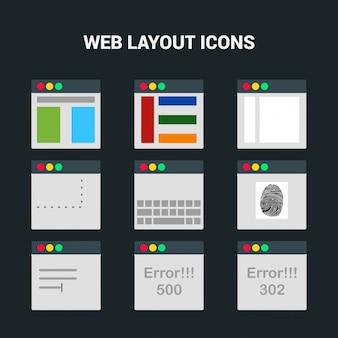 Conjunto de botões de tela da Web 20