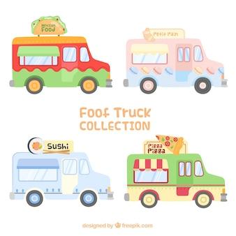 Conjunto de caminhões de comida adorável