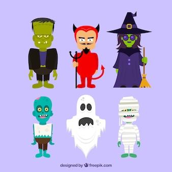 Conjunto de caracteres do dia das bruxas assustador no estilo plana