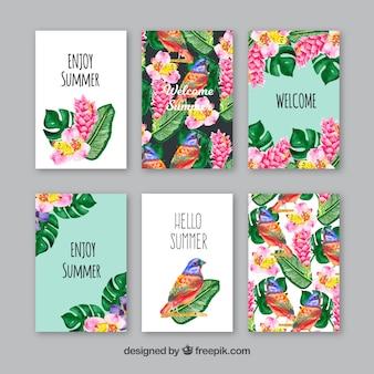 Conjunto de cartas de aquarela com pássaros e folhas