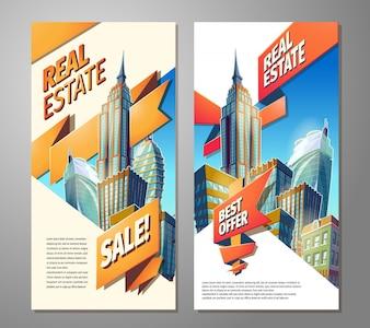 Conjunto de cartazes publicitários para venda de imóveis.