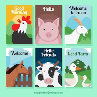 Conjunto de cartões com animais de fazenda planos
