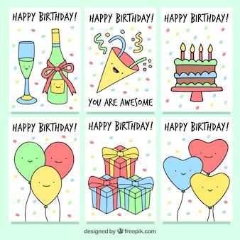 Conjunto de cartões de aniversário com desenhos de festa