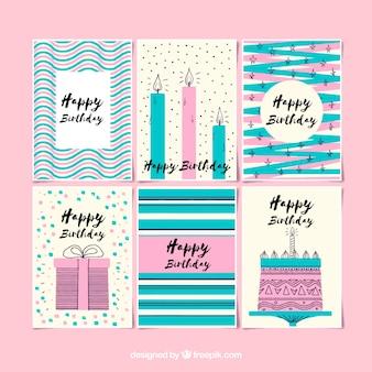 Conjunto de cartões de aniversário com estilo retro