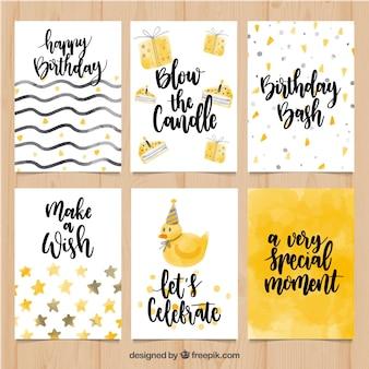Conjunto de cartões de aniversário de aquarela com mensagens