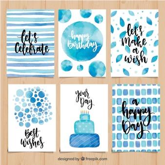 Conjunto de cartões de aniversário de aquarela em tons azuis