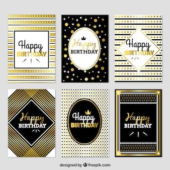 Conjunto de cartões de aniversário luxuosos