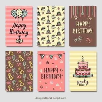 Conjunto de cartões de aniversário vintage