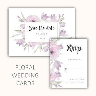 Conjunto de cartões de casamento florais