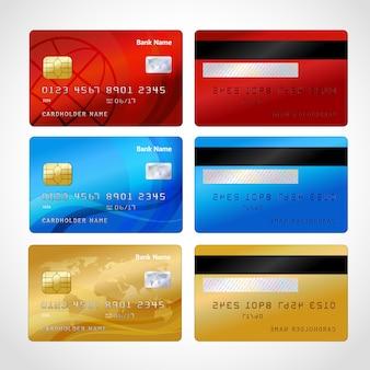 Conjunto de cartões de crédito realistas