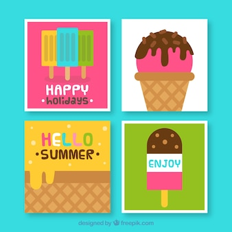 Conjunto de cartões de sorvete plano