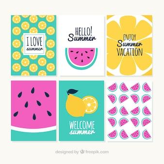 Conjunto de cartões de verão colorido com limão e melancia