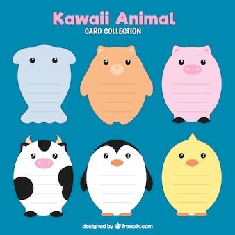 Conjunto de cartões em forma de animal